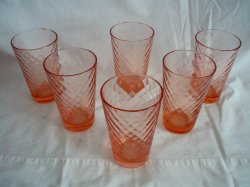 6 Fenton Rose Diamond Optic 14 oz Tumblers 1742