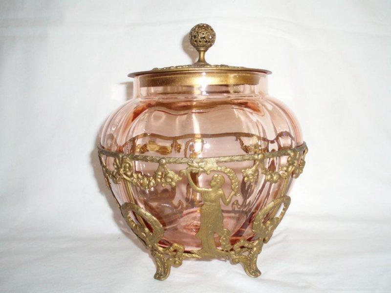 Image 0 of Biscuit Cracker Pink Jar Gilt Brass Roman Greco Holder