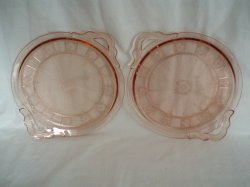 2 Pink Depression Glass Doric Handled Trays Platter