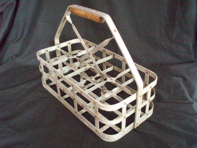 Image 0 of Milk Bottle Carrier vintage metal milkman tote