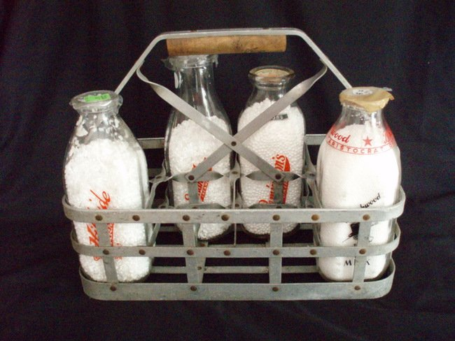 Image 1 of Milk Bottle Carrier vintage metal milkman tote