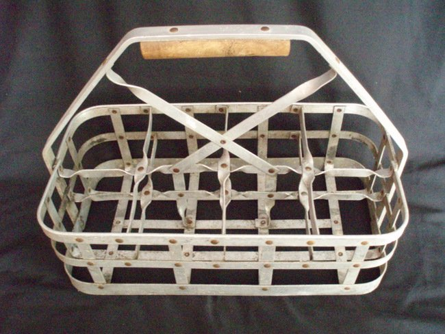 Image 2 of Milk Bottle Carrier vintage metal milkman tote