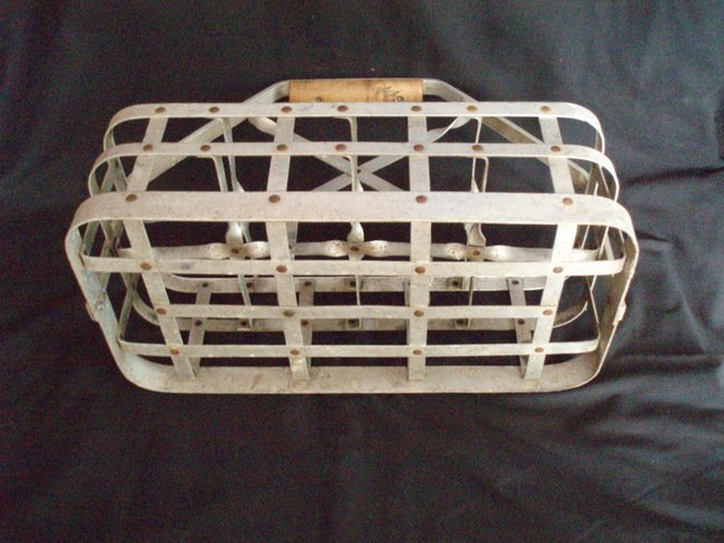 Image 3 of Milk Bottle Carrier vintage metal milkman tote