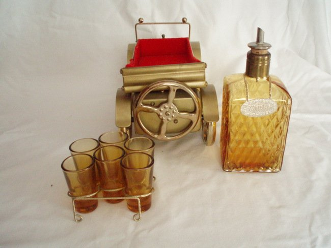 Image 2 of musical whiskey decanter and shot glasses  antique gold cadillac