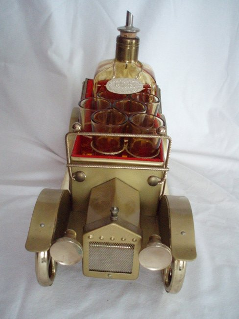 Image 3 of musical whiskey decanter and shot glasses  antique gold cadillac