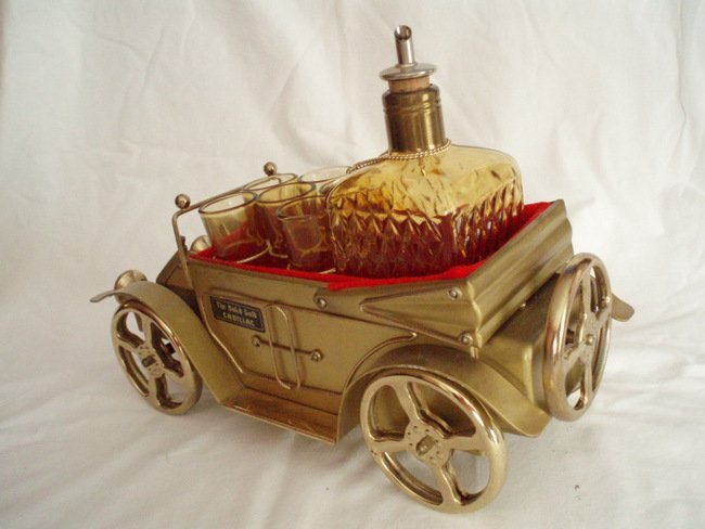 Image 5 of musical whiskey decanter and shot glasses  antique gold cadillac