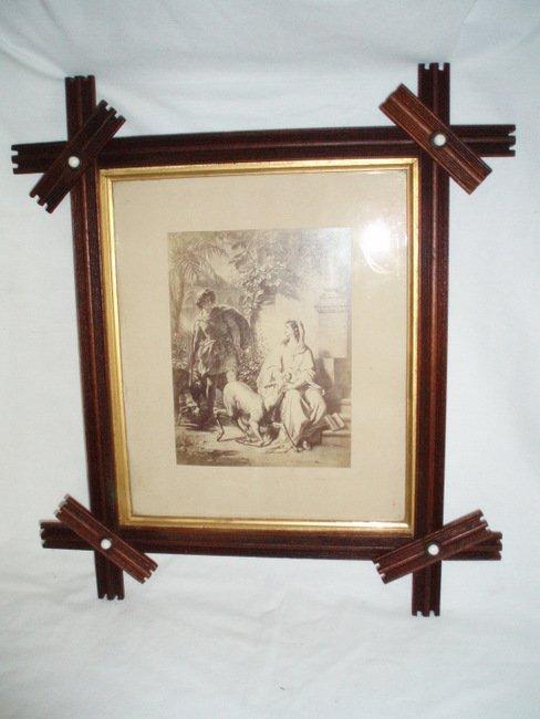 Antique Adirondack Victorian Wood Picture Frame