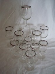 2 Sets 10 oz and 6 oz Silver rimmed Stemware Wine Goblets
