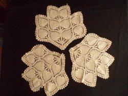 3 Antique Doilies Antimacassar Pieces Ecru