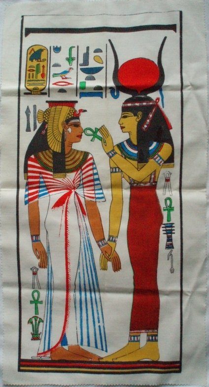 Image 0 of Tomb of Nefertari Egyptian Art Print on Cloth Isis & Queen
