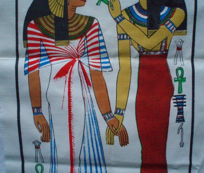 Image 2 of Tomb of Nefertari Egyptian Art Print on Cloth Isis & Queen