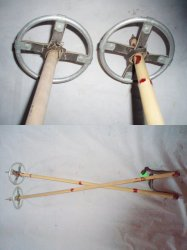 child's vintage metal and Bamboo Ski Poles