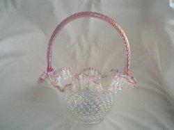 Fenton Basket Pink Crest Opalescent Iridescent Hobnail
