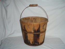 Antique Primitive dry goods wood bucket w/handle Large