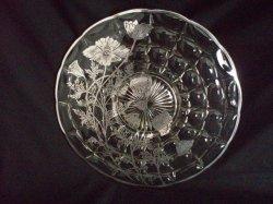 Sterling Silver Poppy Overlay Indiana Glass Cake Plate Server