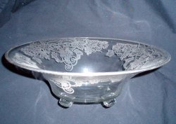 LG Sterling Silver Overlay Glass Console Bowl Grapevine Pattern