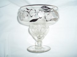 25th Anniversary  Bohemian Crystal Compote w/Silver Overlay