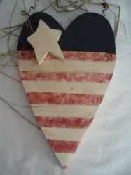 Wood Country USA Heart Shape Flag door wall hanger