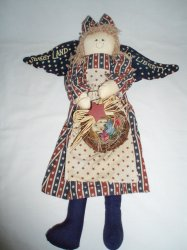 Patriotic American Flag hanging Angel Cloth Doll