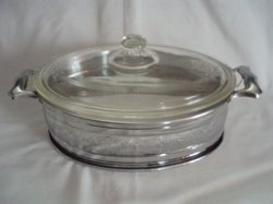 Glasbake vintage 1 QT. covered clear Casserole in metal server