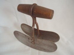 Antique double blade food chopper wood handle