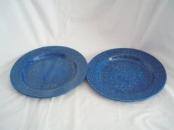Enamelware Spatterware Blue and White Plates 10 Inch 2 tins