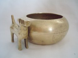 Antique Chinese Brass Bowl Airedale Terrier Dog Attached Etched Flower