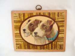 Vintage Varnished Photo on Wood Wire Hair Fox Terrier Dogs