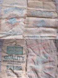 Burlap Grain Feed Sacks Lot of 4