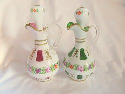 Egermann Czech Crystal Cruet Set Vintage w/Stoppers