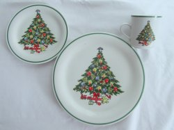 Lynn's China Holy Tree Christmas Mug, Dinner and Salad Plate Setting