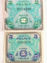 Vintage Emis En France Cinq 2 and 5 Francs 1944 WWII Era