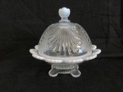 Dome Top Butter Dish French Opalescent Beaded Shell Pattern