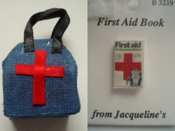 Dollhouse Accessory Medical Bag and 1st Aid Book for Hypochondriacs
