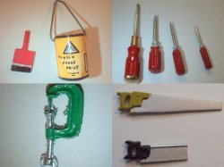 Dollhouse Miniatures Carpentry Redecorating  Accessory and Tool Lot