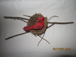 Folk Art Cardinal Bird in Nest on Branch
