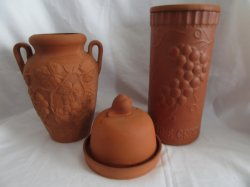 TOPF Terra Cotta Wine Chiller, Garlic Roaster And Vase Set