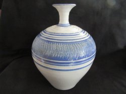 Hand Thrown Grecian Water Jug Ewer Vase Pottery Blue and Gray