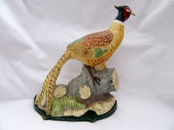 Large Pheasant Cast Iron Painted Doorstop Vintage