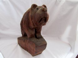 Redwood Chainsaw Carved Bear signed J. Muir Folk Art