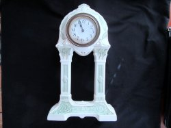 Mantle Clock Vintage Porcelain Pillar Windup Art Deco German