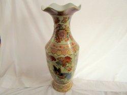 Oriental Asian 24 Inch Tall Porcelain Vase Urn Vintage