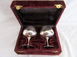 2 Vintage Silver Plate Goblets Wedding Toast in velvet case