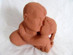 Terracotta Bust Daughter Hugging Father Art Sculpture