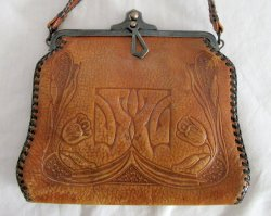 JEMCO Clutch Purse Art Deco Arts Crafts Floral Hand Tooled Leather