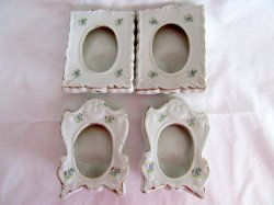 Porcelain Ceramic White Photo Picture Frames Oval Opening