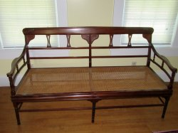 Antique Mahogany Settee Bench Caned Seat Ornate Wood Work