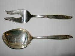 Edward and Holmes Salad Server Set Wood Song Pattern Silverware