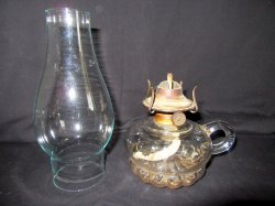 Antique Finger Kerosene Oil Lamp With Burner and Chimney