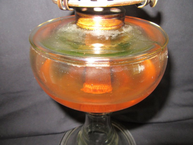 Image 2 of Tall Glass Oil Kerosene Lamp with White Flame Burner and Shade
